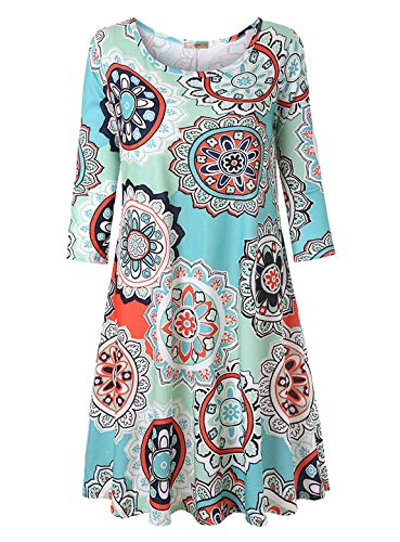 Luranee Boutique Clothing for Women, 3/4 Sleeve Modest Dresses Fancy Classy Gorgeous Warmth Knee Length Dress A-line Chic Morden Zulily Clothes Lovely Fashion 2018 Green XL Size 16 ()