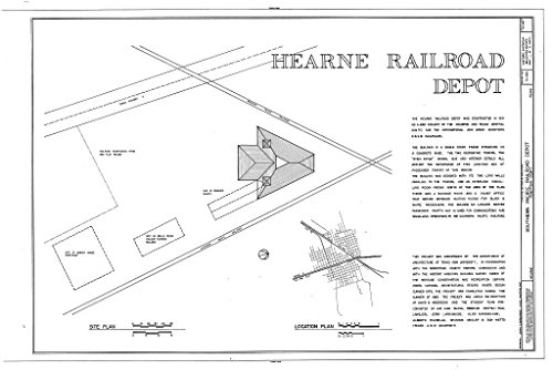 - Historic Pictoric Structural Drawing HABS TEX,198-HEAR,2- (Sheet 1 of 7) - Southern Pacific Railroad Depot, Hearne, Robertson County, TX 66in x 44in