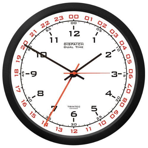 Trintec 12 & 24 Hour Military Time Swl Zulu Time 24hr Wall Clock - White Dial DSP02 (Wall Clock With Military Time)