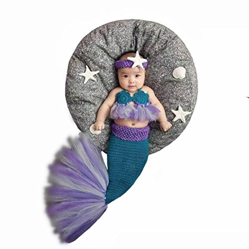 Fashion Newborn Baby Girl Boy Crochet Knitted Photo Photography Props Mermaid Outfit Blue ()