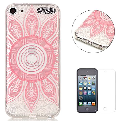 iPod Touch 5/6 Silicone Gel Case [with Free Screen Protector],KaseHom Crystal Clear Ultra Slim Soft Rubber Skin Flexible Bumper Shell Transparent TPU Protective Case Cover,Pink Mandala -