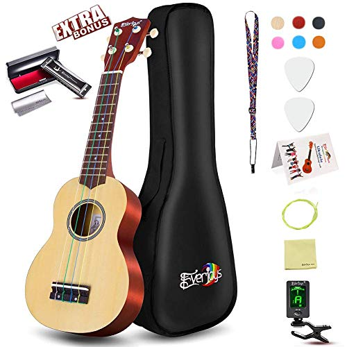 Soprano Ukulele Beginner Pack-21 Inch w/Rainbow String Gig Bag Fast Learn Songbook Digital Tuner All in One Kit