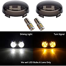 NTHREEAUTO Bullet Front Turn Signal Running LED Lights Compatible with Harley Dyna Softail Road Glide, Smoked Lens