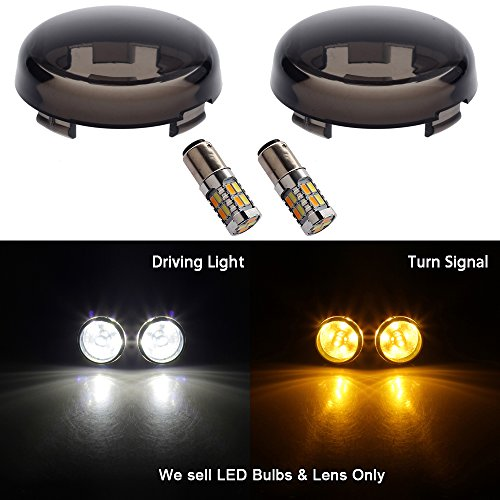 NTHREEAUTO Smoked Bullet Front LED Turn Signal Running LED Lights 2