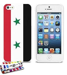 Carcasa Flexible Ultra-Slim APPLE IPHONE 5 de exclusivo motivo [Bandera Siria] [Blanca] de MUZZANO  + ESTILETE y PAÑO MUZZANO REGALADOS - La Protección Antigolpes ULTIMA, ELEGANTE Y DURADERA para su APPLE IPHONE 5