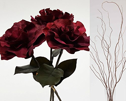 GreenFloralCrafts Curly Willow and Burmese Roses- Burgundy - Artificial Curly Willow