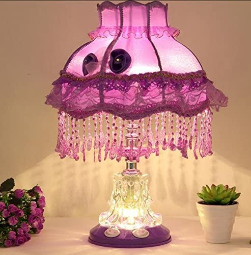 Best To Buy Tiffany Style Dimmable Child Table Lamp Victorian Jeweled Desk Lamp Floral Cloth Art Resin Purple