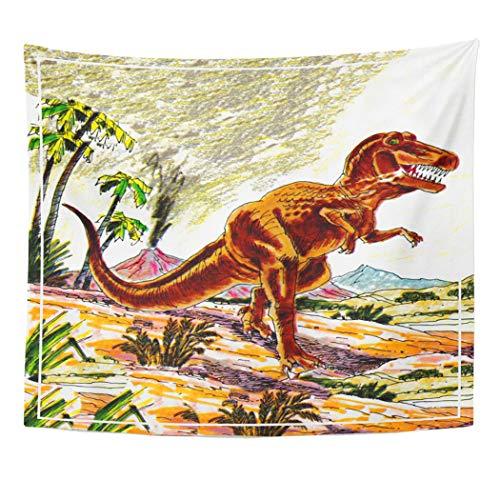 Semtomn Tapestry Artwork Wall Hanging Jack Tyrannosaurus Rex Dinosaur Jill Kids Saturday Evening Post 50x60 Inches Tapestries Mattress Tablecloth Curtain Home Decor Print]()