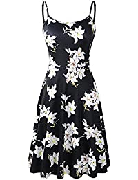Women's Sleeveless Adjustable Strappy Summer Floral Flared Swing Dress