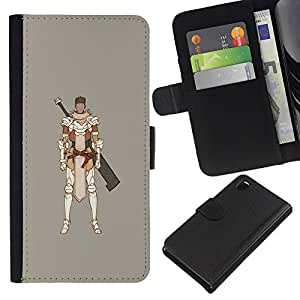 EJOY---La carpeta del tirón la caja de cuero de alta calidad de la PU Caso protector / Sony Xperia Z3 D6603 / --Samurai juego de ordenador Espadachín