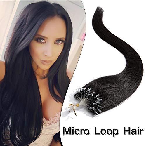 Micro Loop Ring Hair Extensions Nano Rings Human Hair Off Black #1B Silky Straight 100 Strands 50g Micro Link Hairpieces 20 Inch (Hair Micro Human Extensions)