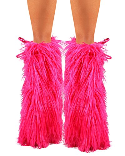 iHeartraves Solid Hot Pink Fluffy Leg Warmers - Rave GoGo Fluffies (Pink Fluffies Leg Warmers)