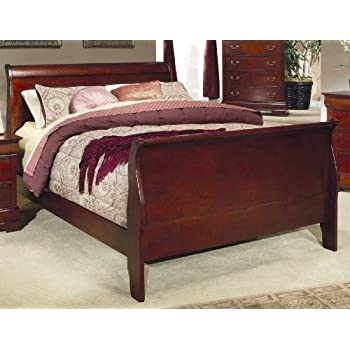 this item coaster fine furniture 200431q louis philippe style sleigh bed queen cherry finish