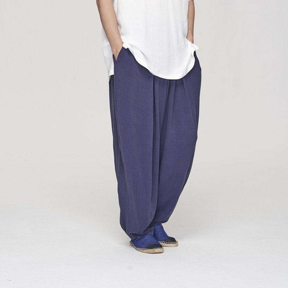 ZanYing Men Yoga Taichi Loose Pants Summer Casual Meditation Pants (L, Blue) by ZanYing (Image #2)