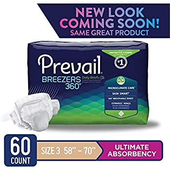 Prevail Breezers 360 Ultimate Absorbency Incontinence Briefs Size 3 15 Count (Pack of 4) Breathable Rapid Absorption Discreet Comfort Fit Adult Diapers