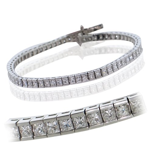 Channel Set Diamond Bracelet (18K White Gold Princess Cut Channel Set Diamond Bracelet)