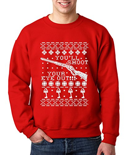 New Way 598 - Crewneck YOU'LL SHOOT YOUR EYE OUT!! CHRISTMAS STORY Unisex Pullover Sweatshirt 4XL Red Men's V Neck Christmas Jumpers