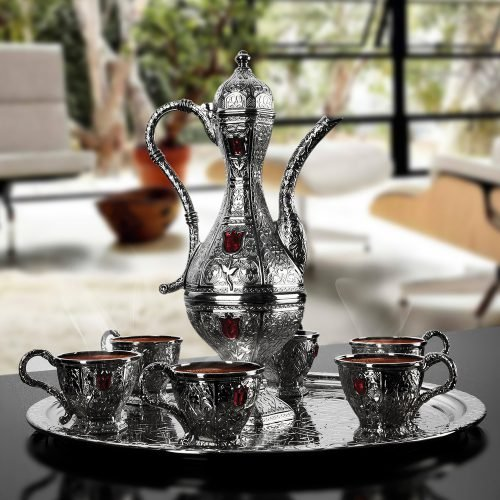 Silver Plated Moroccan Tea Cups Set With Ibrik