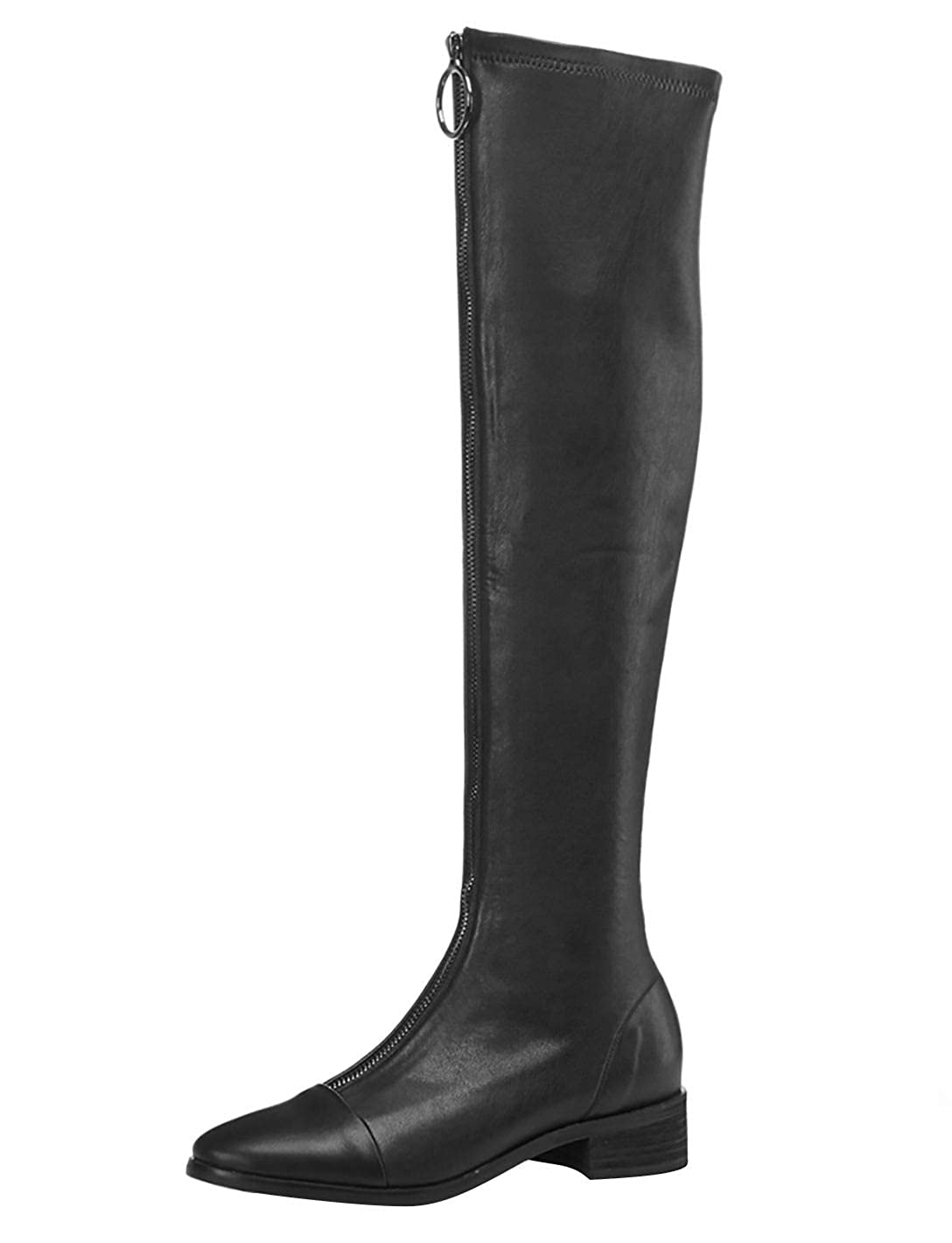 Black MAYPIE Womens ToAncho Leather Zipper Over-The-Knee Boots