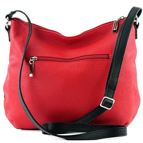 Ledertasche Rot ital modamoda Umhängetasche Schultertasche Damentasche Schwarz Tasche Leder de T159 qAzzfZ