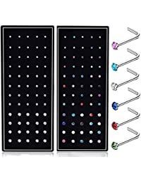 120pcs 22G L Shaped Stainless Steel Nose Studs Rings Piercing Pin Body Jewelry 1.5mm 2mm 2.5mm a Set White and Colour
