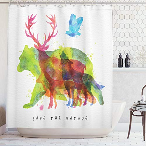 Ambesonne Animal Decor Shower Curtain, Alaska Animals Bears Wolfs Eagles Deers in Abstract Colored Shadow Like Print, Fabric Bathroom Decor Set with Hooks, 75 Inches Long, Gray Green