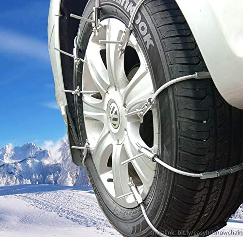 Super Easy HD Emergency Traction Snow Mud SUV Tire Chains - Anti Skid Multi-functional Universal Fit for Pickup SUV Car Van Light Truck ATV Jeep Motorcycle Honda Toyota Nissan VW Ford BMW GMC (Best Easy Tire Chains)