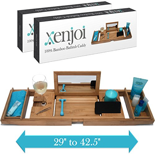 – THIS ONE HAS A MIRROR – Our Luxury Bamboo Bathtub Tray / Bathtub Caddy with MIRROR also comes with Extending Non Slip Sides, Wine Glass Holder, 2 Removable Storage Shelves & Much More