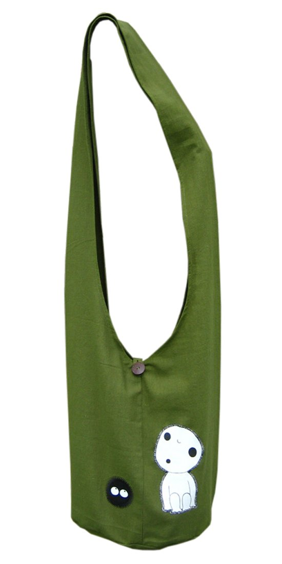 Princess Mononoke Bag with Kodama in Sling Hip Shoulder Bag Style Green #9