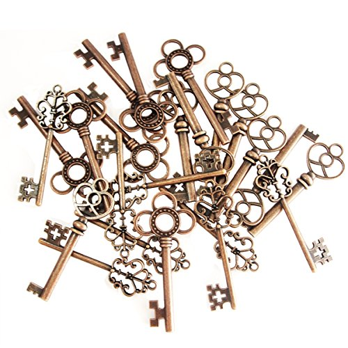 Mixed Set of 30 Vintage Old Look Skeleton Keys Fancy Heart Bow Necklace Pendants (Copper) ()