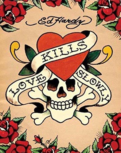 (Pyramid America Ed Hardy Love Kills Slowly Tattoo Art Skull and Crossbone Roses Heart Poster 16x20 Inch )