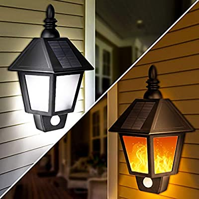2 in 1 Sconce Solar Wall Lights Outdoor Motion Sensor, Solar Decorative Torch Lights with Flickering Flame Design, Wireless Waterproof Solar Lights for Garden, Patio, Garage, AA Battery Included