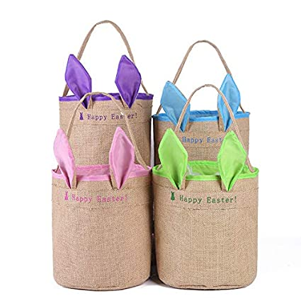 New Easter Bags Easter Bunny Ear Basket Jute Burlap Party Gifts//Eggs Bag