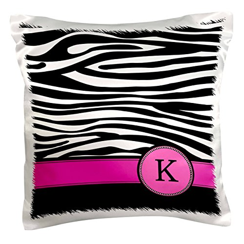 3dRose pc_154282_1 Letter K Monogrammed Black and White Zebra Stripes Animal Print with Hot Pink Personalized Initial Pillow Case, 16
