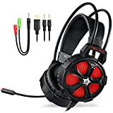 Gaming Headset PS4, PC, Xbox One Controller, EasySMX Cool 2000 Over Ear Stereo Gaming Headphone Mic, LED Light, Y Splitter Cable Computer Laptop Nintendo Switch (Black Red)
