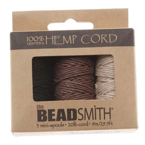 Beadaholique Beadsmith Natural Hemp Twine Bead Cord 1mm, Black, Brown and Natural, 29.5 Feet Each ()