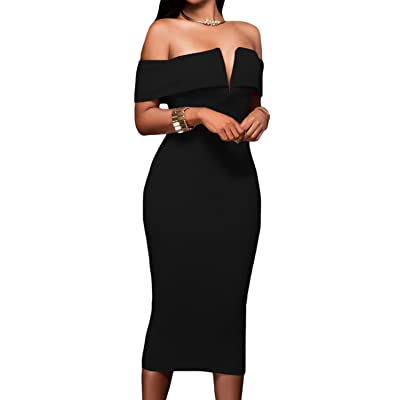 AlvaQ Women's Sexy V Neck Off The Shoulder Evening Bodycon Club Midi Dress: Clothing