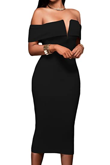 bde1296969 AlvaQ Women's Sexy V Neck Off The Shoulder Evening Bodycon Club Midi Dress
