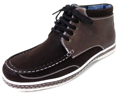 Z-1410 Mens Casual Oxfords Lace-up High Top Moccasins Moc Toe Fashion Sneaker Ankle Boots Brown EyPDr