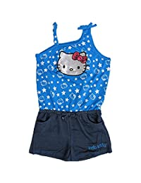 Hello Kitty Little Girls Royal Blue Star Glittery Applique Romper 5