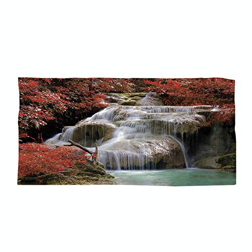 iPrint Cotton Microfiber Beach Towel,Waterfall Decor,Waterfalls Flow Through Giant Rocks Surrounded by Fall Trees,Red White and Light Brown,for Kids, Teens, and Adults