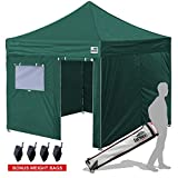 Eurmax New Basic 10x10 Ez Pop Up Canopy Outdoor Canopy Instant Tent with 4 zipper Sidewalls and Roller Bag,Bouns 4 weight bags, Forest