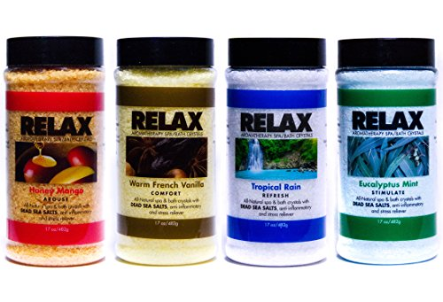 Original Aromatherapy Best Bath Salts, Pack of 4, 17 Ounce Bottles, All Natural Epsom Mineral Salts, Safe for Hot Tubs, Spas, Baths, and - Salts Scents Bath Scented