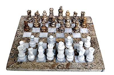 RADICALn Handmade Fossil Coral and White Marble Full Chess Game Original Marble Chess Set