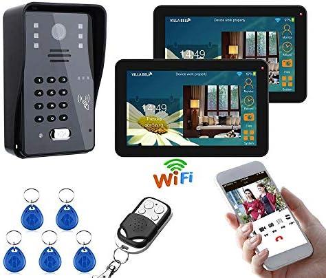 9インチドアベル、IR-CUT 1000TVLカメラと2台のモニター有線/ワイヤレス無線LAN RFIDパスワードビデオドア電話ドアベルインターホンシステム