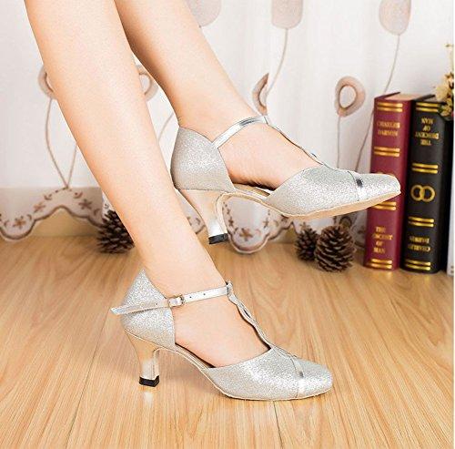 WYMNAME Plata La Tacones Zapatos Latino Blando Baile De De Salón De Mujeres Mediados Baile Fondo Baile Zapatos Modernos Zapatos De SSHwqrxgU