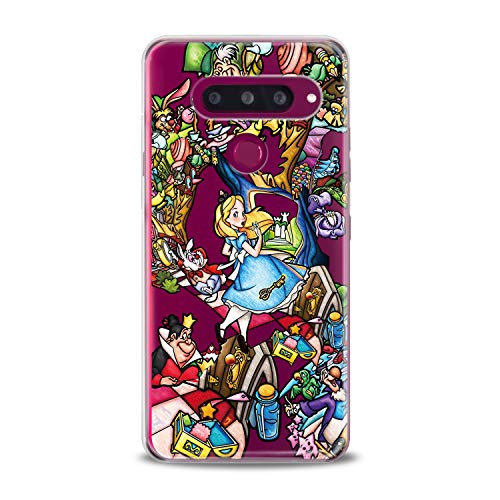 Lex Altern LG TPU Case Stylo 4 K11 G7 ThinQ G6 V40 V35 Plus V20 Q8 K8 Alice in Wonderland Clear Disney Cute Colorful Cover Soft Character Silicone 2018 Print -