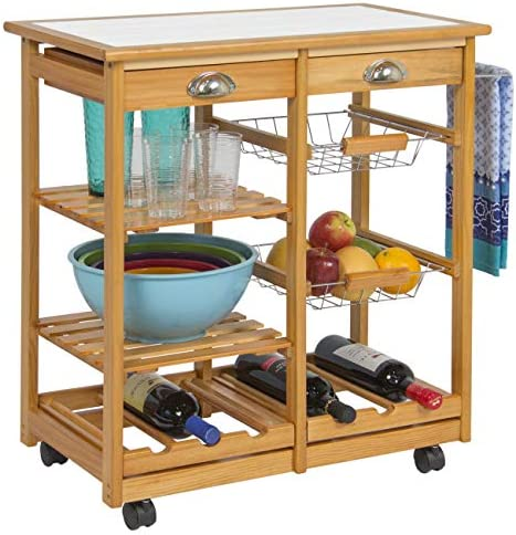 Best Choice Products Rolling Wood Kitchen Storage Cart Dining Trolley w/Drawer