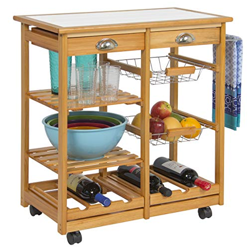Best Choice Products Wood Kitchen Storage Cart Dining Trolley w/ Drawers Stand CounterTop Table (Furniture Kitchen Island Cart)