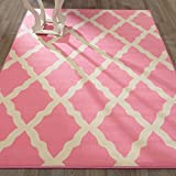 Ottomanson Glamour Collection Contemporary Moroccan Trellis Design Kids Rug (Non-Slip) Kitchen and Bathroom Mat Rug, 5'0'' X 6'6'', Pink